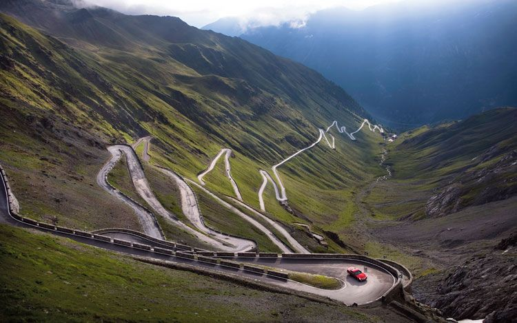 The Stelvio Pass, highest mountain ever used in a Grand Tour Cycling race.